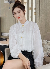 Pretty Fashion Rhinestones Buttons Puff Sleeve Chiffon Blouse