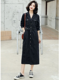 Quality New 2 Colors Tailored Collar Denim Long Dress