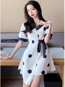 Preppy Fashion Tie Waist Color Block Dots A-line Dress