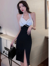 Wholesale Sexy Color Block Split Halter Skinny Dress