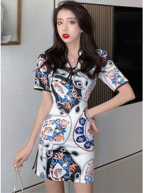 Retro Wholesale V-neck Flowers Skinny Dress