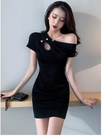 Simple Fashion Pearl Pin Off Shoulder Slim Dress