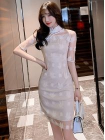 Wholesale Korea Lace Flowers Slim Cheongsam Dress