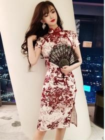 Retro Charming Flowers Bodycon Cheongsam Dress