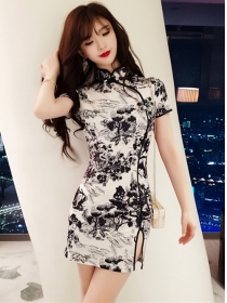 Fashion Wholesale Ink Flowers Slim Cheongsam Dress