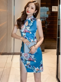 Retro Wholesale Flowers Printings Lace Splicing Tank Dress