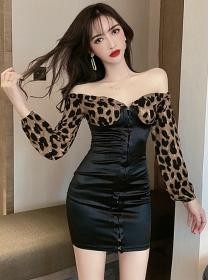 Sexy Lady Leopard Boat Neck Long Sleeve Slim Dress