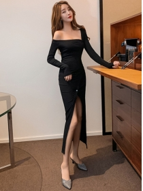 Modern Lady Off Shoulder Buttons Split Long Dress