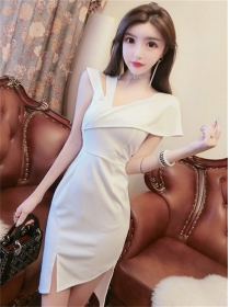 Korea Sexy 2 Colors V-neck Backless Bodycon Split Dress