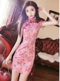 Retro Charming Stand Collar Flowers Slim Cheongsam Dress
