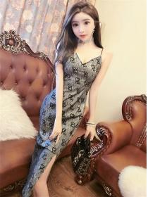Pretty Lady V-neck Lace Flowers Straps Slim Dress