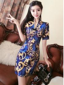Retro Stylish Stand Collar Flowers Slim Dress