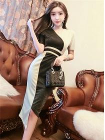 Summer Fashion Color Block V-neck Tie Waist Slim Dress