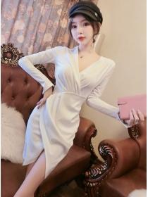 Stylish OL 2 Colors Pleated V-neck Long Sleeve Dress