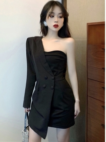 Sexy Fashion Off Shoulder Double-breasted Slim Dress