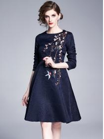 Europe Stylish Jacquard Flowers Embroidery A-line Dress