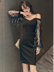 Sexy Charming Boat Neck Sequins Sleeve Slim Dress