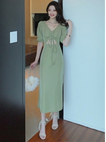 Sexy Fashion Hollow Out Draw-string Slim Long Dress