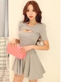 Wholesale Korea 2 Colors Bust Hollow Out A-line Dress