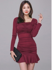 Fashion Sexy 2 Colors Pleated Square Collar Fishtail Dress