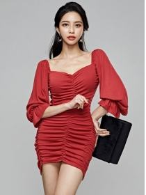 Sexy Lady 2 Colors Square Collar Pleated Puff Sleeve Dress