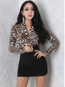 Spring Sexy V-neck Leopard Splicing Bodycon Dress