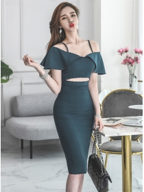 Grace Sexy Boat Neck Waist Hollow Out Bodycon Dress
