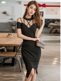 Wholesale Sexy Bust Hollow Out Short Sleeve Dress