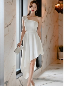 Charming Korea Off Shoulder Sloping A-line Dress