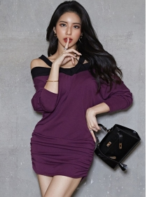 Wholesale Korea Boat Neck Loosen Batwing Dress