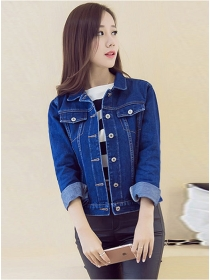 Fashion Spring 2 Colors Turn-down Collar Denim Jacket