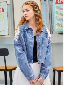 Fashion New Beads Lace Flowers Denim Jackets