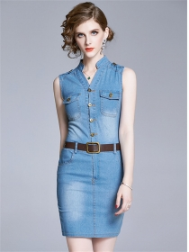 Summer 2 Colors Single-breasted Skinny Denim Dress