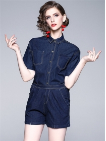 Europe Wholesale Shirt Collar Elastic Waist Denim Suits