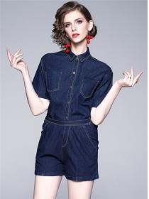 Europe Wholesale Shirt Collar Elastic Waist Denim Suits