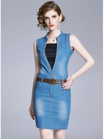 Wholesale Summer 2 Colors V-neck Denim Tank Dress