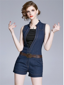 Summer New 2 Colors V-neck Tank Denim Jumpsuit