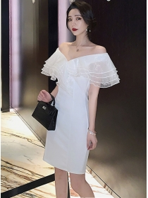 Charming Layered Flouncing Gauze Boat Neck Slim Dress