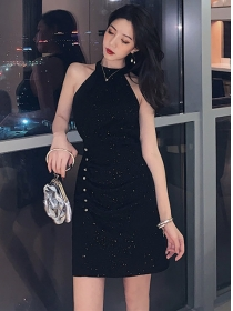 Sexy Summer Off Shoulder Rhinestones Shining Dress