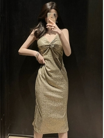 Fashion Sexy Twisted V-neck Shining Straps Dress
