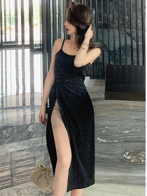 Wholesale Simple Sexy Split Straps Shining Dress