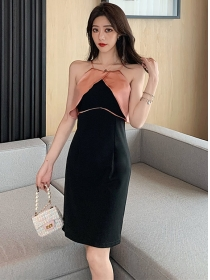 Modern Sexy Color Block Off Shoulder Straps Dress