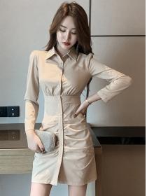 Retro Spring Single-breasted Shirt Collar Slim Dress