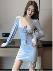 Wholesale 2 Colors Hollow Out Draw-string Pleated Dress