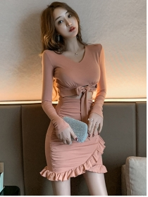 Sexy Spring Waist Bowknot Hollow Out Fishtail Dress