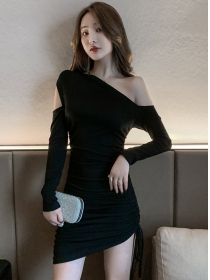 Spring New 2 Colors Off Shoulder Draw-string Pleated Dress