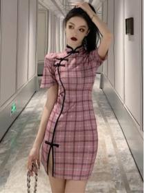 Retro Korea Plaids Short Sleeve Cheongsam Dress