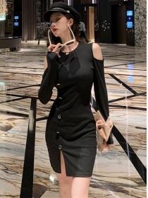 Fashion Korea Off Shoulder Single-breasted Slim Dress