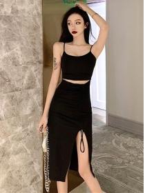Wholesale Korea Waist Hollow Out Split Straps Dress