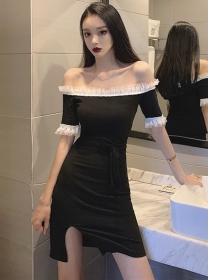 Hot Stylish Boat Neck Short Sleeve Bodycon Dress